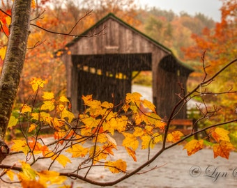Covered Bridge -  Nature photography, landscape photography, fall, autumn, fine art print, leaves, Vermont, New England photography