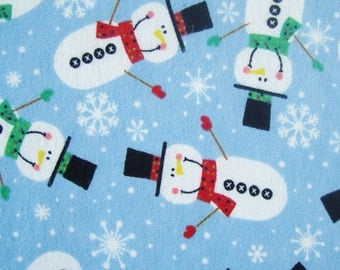 HAPPY SNOWMEN Flannel Fitted Crib/Toddler Sheets