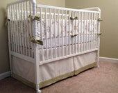 Linen Baby Bedding Set: crib bumper, crib skirt, READY TO SHIP, ivory linen with citron & grey embroidered stitching, cotton velvet trim