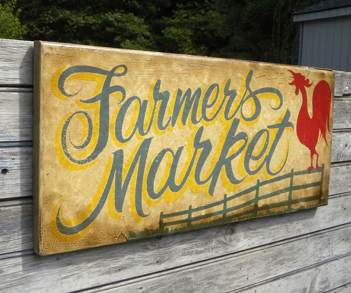 Farmers Market Sign hand painted faux vintage ZF