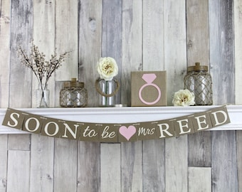 Soon to Be Mrs, Bridal shower decorations, Soon To Be Mrs Banner, Bridal Shower Banner, Rustic Bridal Shower, Blush Bridal Shower
