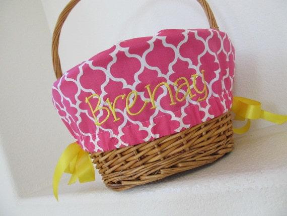 Personalized Easter Basket Liner Hot Pink Quatrefoil Girls