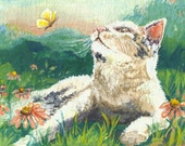 Chasing Butterflies, 5 x 7 archival-quality cat print of an original painting by Cynthia Maravich, with matt