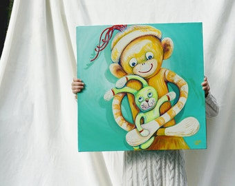 Sock Monkey Loves Bun Bun, Original Painting, Square 18 x 18 inches chubby canvas, Childrens' Art Nursery Art