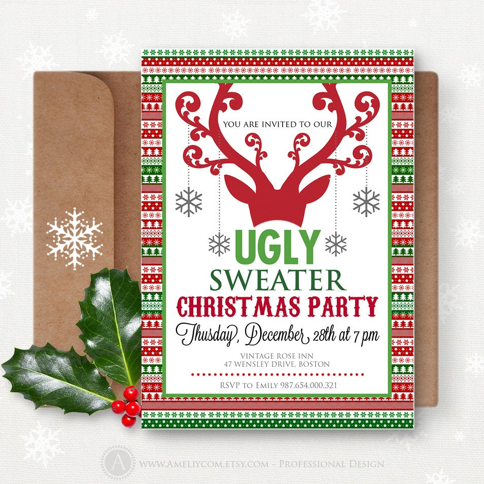Printable Christmas Party Invitation Instant Download Ugly