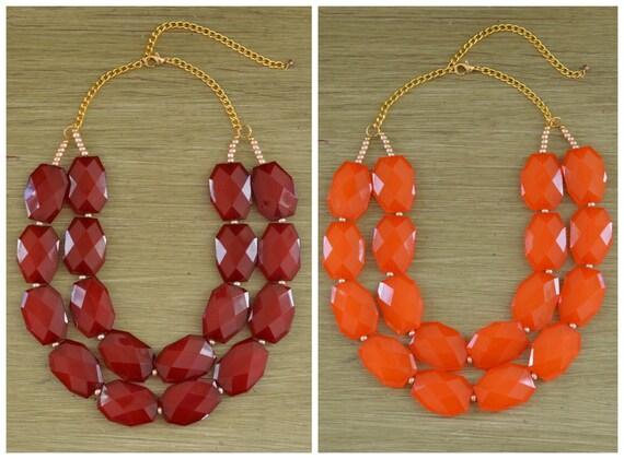 Virginia Tech Game Day Necklace - Virginia Tech Jewelry - Virginia Tech Graduation Gifts - Maroon Statement Necklace - Orange Statement Bib
