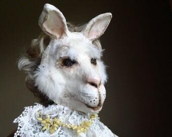 Papier mache rabbit mask bunny mask hare mask