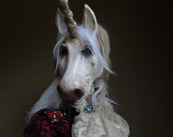 Masquerade mask papier mache Unicorn mask unicorn costume