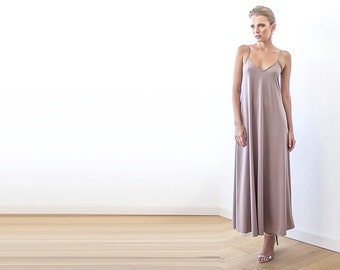 Maxi taupe straps dress, Basic lining dress 1026