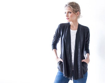 Metallic Black long sleeves Jacket with side pockets 2011