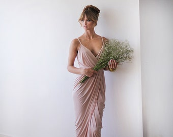 Wrap maxi pink bridesmaids gown, Pink blush maxi gown 1033