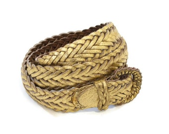 Vintage Gold Woven Leather Belt