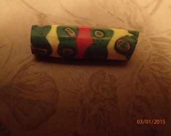 Vintage 1800's African Trade Bead/Green Yellow and Red/Czech Glass/PJsBeadedEagle