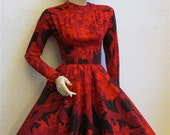 1950's Red/Black Floral Wool, Long Sleeved Mam'selle Dress by Betty Carol - 24 Inch Waist