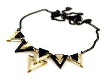 Gold & Black Zag Necklace
