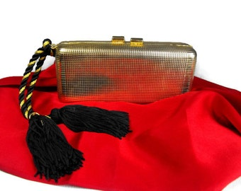 Vintage 1980's Gold Metal Evening Bag with Black Tassel by Walborg - Evening Wear, Formal Wear, Holiday Wear
