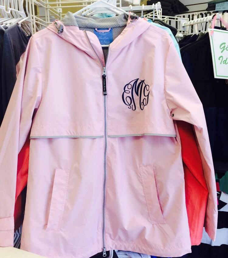 monogram light pink rain jacket font shown master by monogramsinc