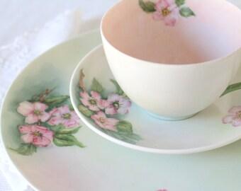 Vintage C.T. Bavaria Germany  Bone China Teacup, Saucer and Dessert Plate Trio Tea Party