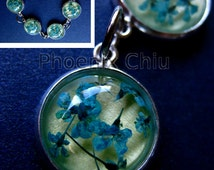Blue Real Flower Bracelet Pressed Flowers Bracelet Resin Vintage Queen Anne's Lace Jewelry