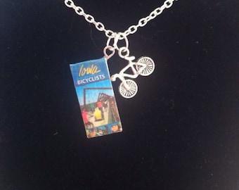 Iowa Bike Map Mini Booklet Necklace