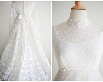 1960's Vintage Wedding Gown - Ruffled Lace Bridal Gown - Long Sleeved High Neck Wedding Dress with Tiered Lace Train - Size Small