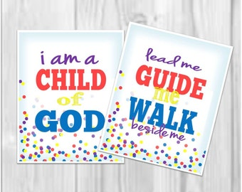 LDS Nursery Print: I am a child of God, confetti 17x20 print, custom color