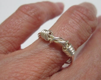 Silver Ring - Organic, Sixties, Casual, Funky, Wire, Silver Plated Wire