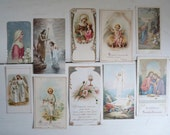 Set 5: Antique RELIGIOUS CARDS, Communion and Prayer Cards. Collection of 10 Coloured Cards.