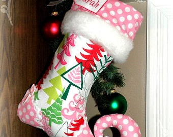 Personalized Christmas Stocking elf stocking - FUNKY CHRISTMAS - with personalized name tag and jingle bell toe