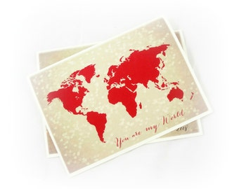 Travel Valentine Card, You Are My World, Bokeh Hearts, Anniversary Card, Blank Inside, World Map, Valentine's Day, Long Distance Love Card