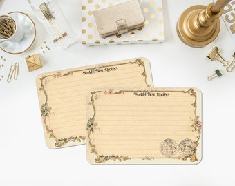 World Map Recipe Cards, Travel Themed Bridal Shower Recipe Cards, Tan, Vintage Style, 4x6, Destination Wedding, MADE TO ORDER, Set of 12