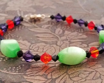 Witch's Bracelet, Halloween, Cats Eye, Orange, Black, Purple and Green