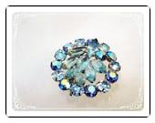 Blue Rhinestone Brooch - Vintage Sparkling Round Pin - 2014a-122512000.