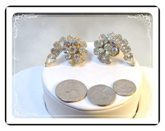 Vintage Juliana Earrings - Swirl of Icy Clear w Raised AB Rhinestones   DE057a-090412031