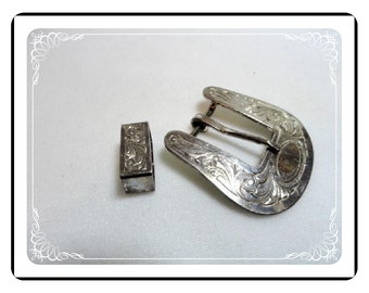 Vintage Silver Plated Buckle - Columbus Montana Silversmiths  Buc-1526a-052412000