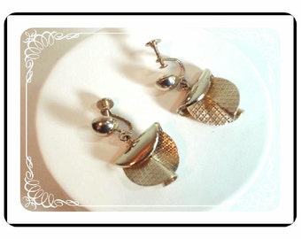 Gold Tone Earrings - Sculpted 1950's Folded Metal - E107a-04081200.