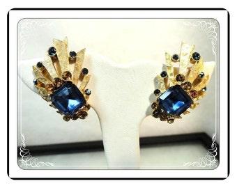 Signed BSK Earrings - Blue & Golden Amber Rhinestone Clip-on Earrings   E618a-030813010