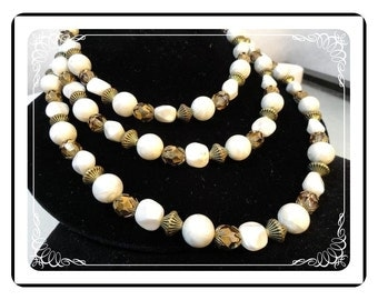 Vintage Trifari Necklace - White and Bronze Three Strand Necklace     Neck-1574a-042412000