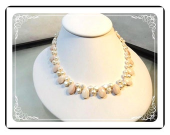 Angelskin & Pearl Necklace - with 14K Clasp - Neck-1555a-030813010