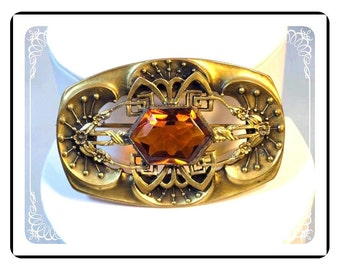 Art Deco Brooch - Rectangle Vintage Brooch with Amber Stone - Looks like Machine Age Pin-1030a-022313000