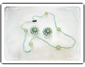 Bead Necklace Set - Vintage Pearlescent Bead Necklace & Earrings in Pastel Blue Green from Hong Kong - Demi-1651a-121012000