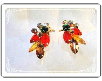 Vintage Juliana Earrings - Fall Colors Wire Over Earrings   D&E 026a-090412031