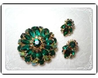 Vintage Juliana  Demi - Scrumptious D&E Green Brooch and Earring Set  Demi-886a-041110045