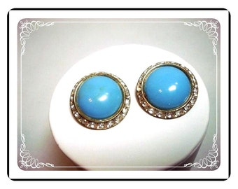 Rhinestone Button Clip-Ons  - Big Light Blue Earrings   E351a-04081200