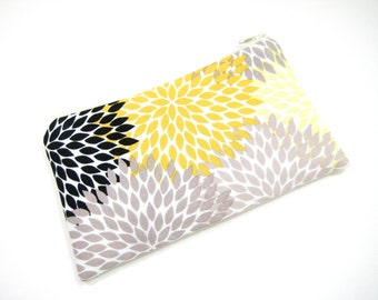 Floral Cosmetic Bag, Zippered Pouch, Gray and Yellow Pouch, Gadget Accessory