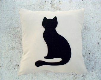 Sitting Cat pillow cover - Sand linen pillow with black cat - Meow Cat Lovers - Gift for her for children for mom - Ready Ship - Felt cat