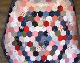 Pentagon Quilt,Patchwork,Cotton,All hand made