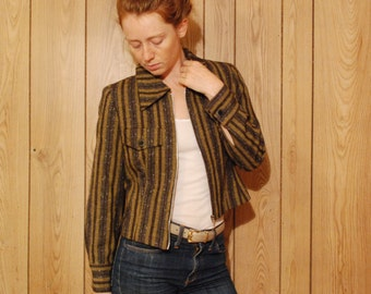 early 90s late 80s Medium womens cropped fitted jacket sports coat green and black stripes with zip up Franco and Co