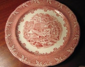 """Antique RED and WHITE TRANSFERWARE Plate """"Farm"""" marked England 1800s"""
