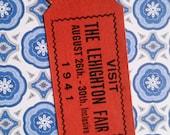 Vintage Lehighton Fair Tickets 1941 Red Prize Raffle Tickets